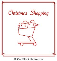 Shopping cart with gift bags.