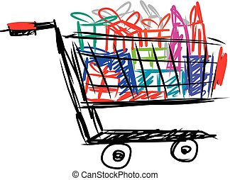 Shopping cart with gift box and bag isolated on white...