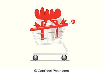 Shopping cart with gift box isolated on white background.