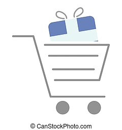 shopping cart with gift box present