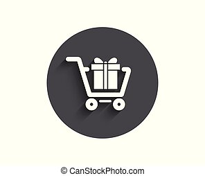 Shopping cart with Gift box simple icon.