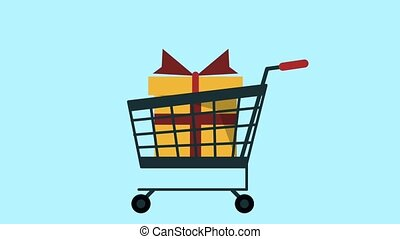 Shopping cart with gift HD animation