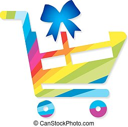 Shopping cart with gift bags design for banner poster or shopping cart with gift vector negle