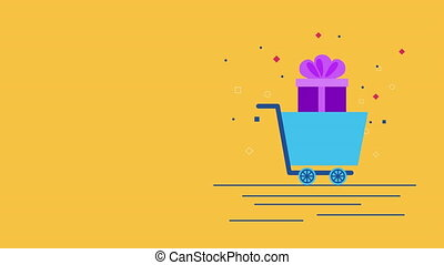 shopping cart with giftbox commercial