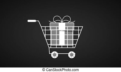 Shopping cart with giftbox inside HD animation