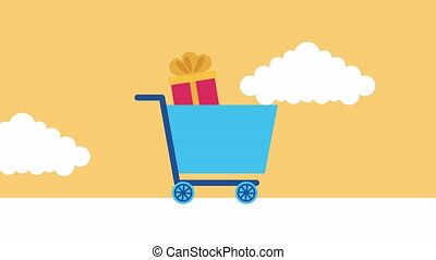 shopping cart with gifts commercial animation ,4k video animation