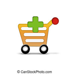 Shopping cart with green plus