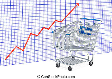 Shopping cart with growing chart, 3D rendering