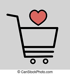 Shopping cart with heart icon i love shopping