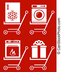 shopping cart with home appliances