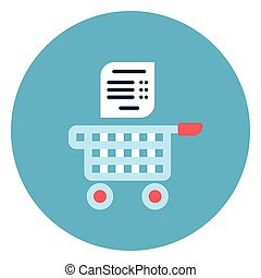 Shopping Cart With List Icon Web Button On Round Blue Background