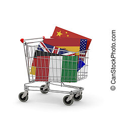 Shopping cart with many Flags inside