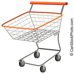 Shopping cart with metal basket