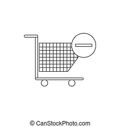 Shopping cart with minus icon, thin line style