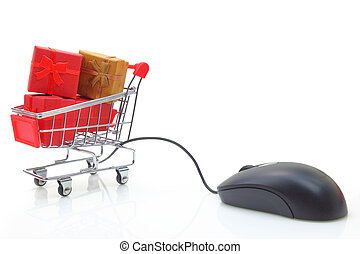 Shopping cart with mouse and gift boxes isolated