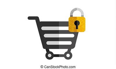 shopping cart with padlock animation