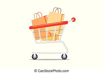Shopping cart with paper bag isolated on white background.