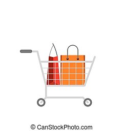 Shopping cart with paper bags