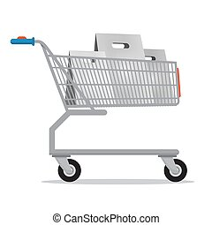 Shopping Cart with Paper Bags Isolated on White Background. Vector.