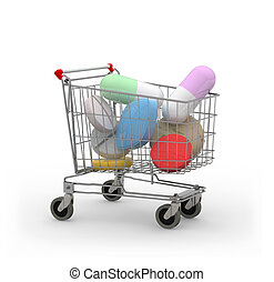 Shopping cart with pills and capsules 3d illustration