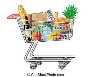 shopping cart with purchases and foods vector illustration