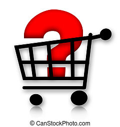 Shopping cart with question mark