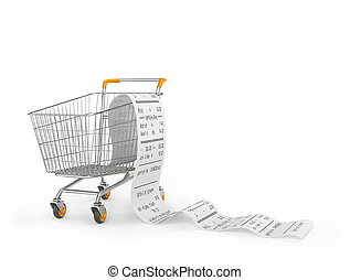 Shopping cart with receipt isolated on a white background. 3d illustration