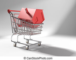 concept of shopping cart with a red icon 3d house