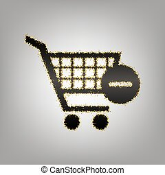 Shopping Cart with Remove sign. Vector. Blackish icon with...