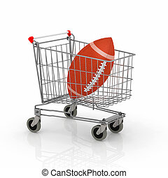 shopping cart with rugby ball inside it