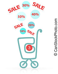 Shopping cart with sale. Concept of discount. Vector EPS10.