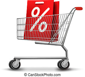 Shopping cart with sale tag. Concept of discount. Vector illustration