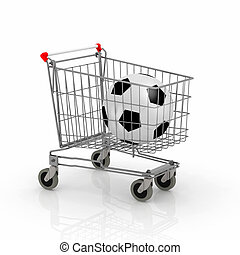 shopping cart with soccer ball inside it