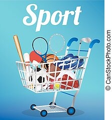 shopping cart with Soccer Ball Voll
