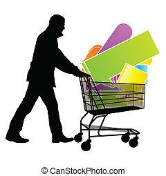 Shopping cart with speech bubbles sale concept vector...