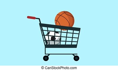 shopping cart with sports equipment