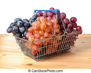 shopping cart with twigs of grape is isolated on white background