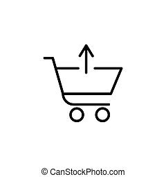 Shopping cart with up arrow sign