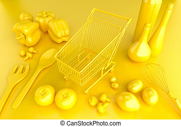 Shopping cart with vegetables on top of the table. 3D illustration