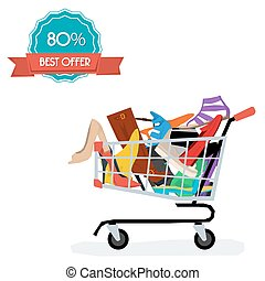 Shopping cart with womens shoes