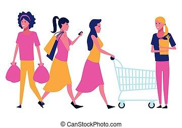 shopping, cartone animato, persone