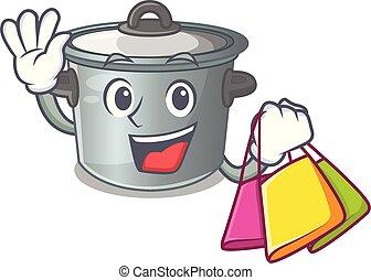 Shopping cartoon cookware stock pot in kitchen vector...