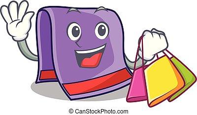 Shopping cartoon home kitchen towel vector illustration
