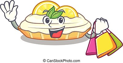 Shopping cartoon lemon cake with lemon slice