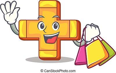 Shopping cartoon plus sign logo concept health