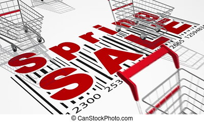 Shopping carts 3d - Empty shopping carts. Sale concept....
