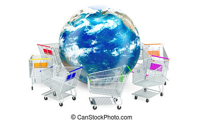 Shopping carts are moving around Earth globe, online shopping concept. 3D rendering