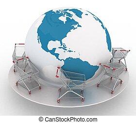 Shopping carts around the globe on white