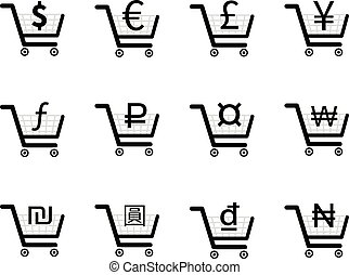 Shopping carts icons with main currency signs inside,...