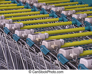 Shopping carts in a row